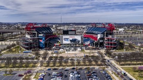 DXP002_117_0002 - Aerial stock photo of A view of Nissan Stadium in Nashville, Tennessee