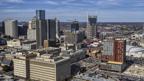 DXP002_118_0001 - Aerial stock photo of A high-rise hotel and skyscrapers in Downtown Nashville, Tennessee