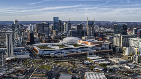 DXP002_119_0004 - Aerial stock photo of The city skyline and Nashville Music City Center, Downtown Nashville, Tennessee