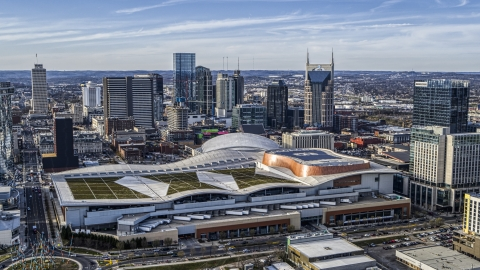 DXP002_119_0005 - Aerial stock photo of Nashville Music City Center and the city's skyline, Downtown Nashville, Tennessee