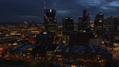 DXP002_121_0006 - Aerial stock photo of A view of the AT&T Building and skyline at twilight, Downtown Nashville, Tennessee