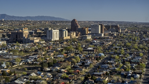DXP002_122_0003 - Aerial stock photo of The city's high-rises seen from neighborhoods in Downtown Albuquerque, New Mexico
