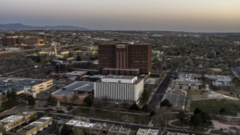 DXP002_123_0001 - Aerial stock photo of A hospital at sunset in Albuquerque, New Mexico