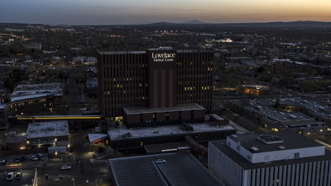 DXP002_123_0006 - Aerial stock photo of A hospital at twilight in Albuquerque, New Mexico