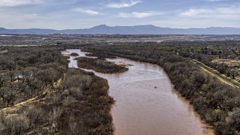 DXP002_124_0007 - Aerial stock photo of Islands in the Rio Grande river in Albuquerque, New Mexico
