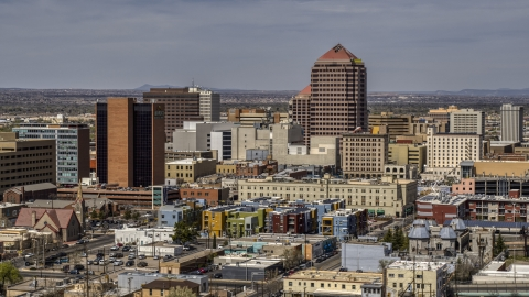 DXP002_124_0009 - Aerial stock photo of Albuquerque Plaza office high-rise and surrounding buildings, Downtown Albuquerque, New Mexico