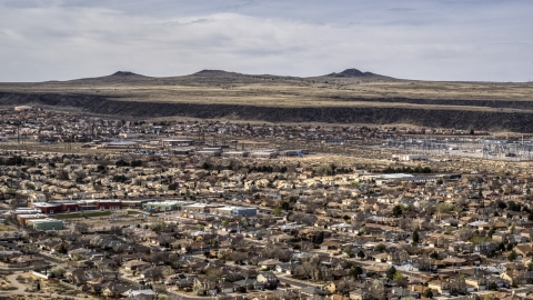 DXP002_126_0002 - Aerial stock photo of A suburban neighborhood in Albuquerque, New Mexico