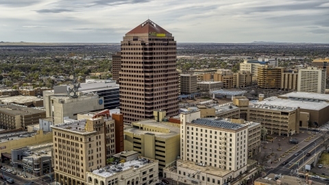 DXP002_127_0004 - Aerial stock photo of A view of Albuquerque Plaza and neighboring city buildings in Downtown Albuquerque, New Mexico