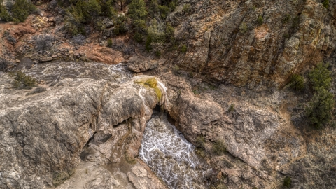 DXP002_129_0005 - Aerial stock photo of River rapids flowing through a rock formation in New Mexico