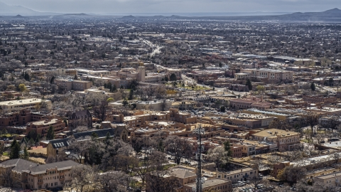 DXP002_129_0011 - Aerial stock photo of The downtown area of Santa Fe, New Mexico