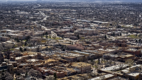DXP002_129_0012 - Aerial stock photo of City buildings in the downtown area of Santa Fe, New Mexico