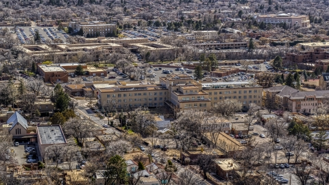 DXP002_129_0015 - Aerial stock photo of The Drury Plaza Hotel in the downtown area of Santa Fe, New Mexico