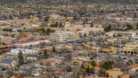 DXP002_129_0017 - Aerial stock photo of A view of state government buildings in the city's downtown area, Santa Fe, New Mexico