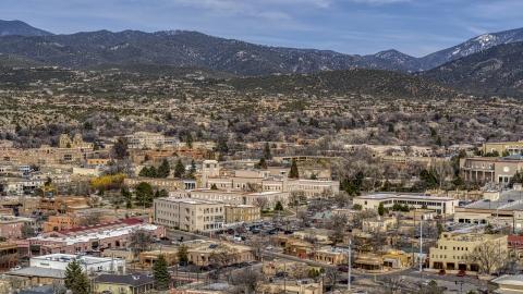 DXP002_129_0018 - Aerial stock photo of The Bataan Memorial Building near capitol building, Santa Fe, New Mexico