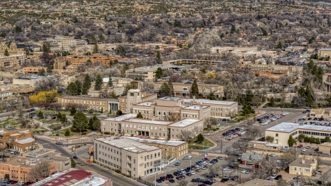 DXP002_129_0019 - Aerial stock photo of The Bataan Memorial Building in Santa Fe, New Mexico