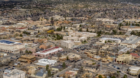 DXP002_130_0002 - Aerial stock photo of The Bataan Memorial Building near the state capitol, Santa Fe, New Mexico