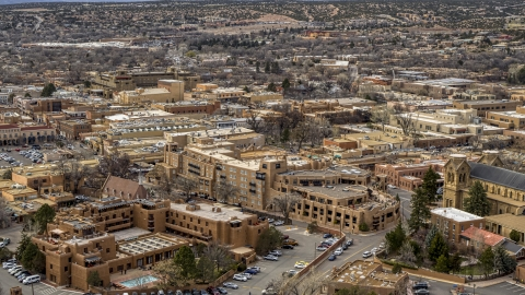 DXP002_130_0009 - Aerial stock photo of A view of two hotels in Santa Fe, New Mexico