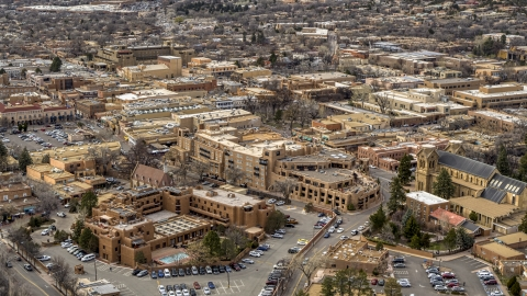 DXP002_130_0010 - Aerial stock photo of Two downtown hotels in Santa Fe, New Mexico