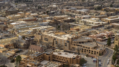 DXP002_130_0012 - Aerial stock photo of A view of a downtown hotel in Santa Fe, New Mexico
