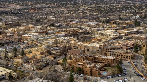 DXP002_130_0013 - Aerial stock photo of Downtown hotels in Santa Fe, New Mexico