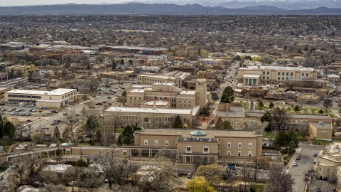 DXP002_130_0014 - Aerial stock photo of The Bataan Memorial Building in downtown, Santa Fe, New Mexico