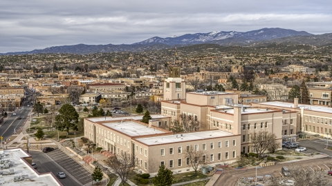 DXP002_131_0001 - Aerial stock photo of Bataan Memorial Building in Santa Fe, New Mexico
