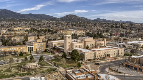 DXP002_131_0002 - Aerial stock photo of A state government building in Santa Fe, New Mexico
