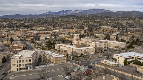DXP002_131_0004 - Aerial stock photo of The Bataan Memorial Building and the downtown area of the city, Santa Fe, New Mexico