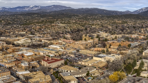 DXP002_131_0005 - Aerial stock photo of A view across the downtown area of Santa Fe, New Mexico