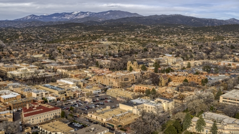 DXP002_131_0006 - Aerial stock photo of The downtown area of Santa Fe, New Mexico