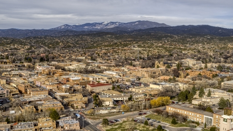 DXP002_131_0009 - Aerial stock photo of A wide view of the downtown area of Santa Fe, New Mexico