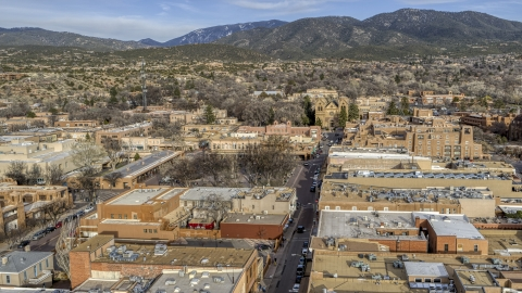 DXP002_131_0010 - Aerial stock photo of Santa Fe Plaza and cathedral in downtown, Santa Fe, New Mexico