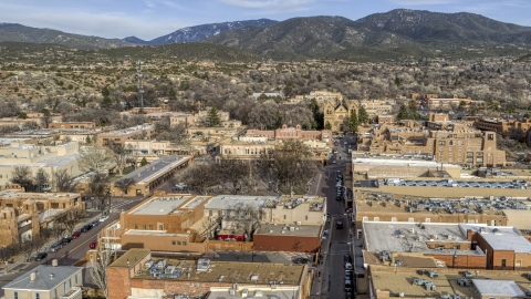 DXP002_131_0011 - Aerial stock photo of A view of Santa Fe Plaza and cathedral in downtown, Santa Fe, New Mexico