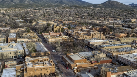 DXP002_131_0012 - Aerial stock photo of Santa Fe Plaza in downtown, Santa Fe, New Mexico
