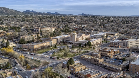 DXP002_131_0013 - Aerial stock photo of The state capitol and the Bataan Memorial Building in Santa Fe, New Mexico