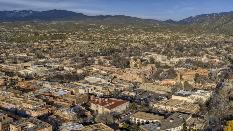 DXP002_132_0002 - Aerial stock photo of The downtown area of Santa Fe, New Mexico
