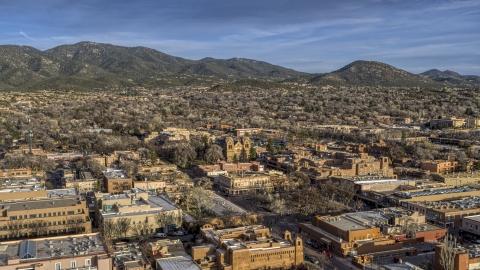 DXP002_132_0003 - Aerial stock photo of The cathedral seen from near Santa Fe Plaza, Santa Fe, New Mexico