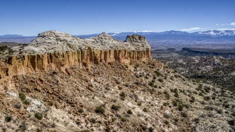 DXP002_133_0008 - Aerial stock photo of The top of a desert mesa in New Mexico