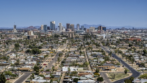 DXP002_136_0010 - Aerial stock photo of A view of the city's distant skyline, Downtown Phoenix, Arizona
