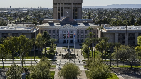 DXP002_137_0004 - Aerial stock photo of The front of Arizona State Capitol building in Phoenix, Arizona