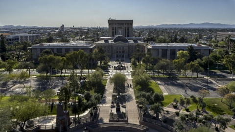 DXP002_138_0001 - Aerial stock photo of Plaza and the Arizona State Capitol building in Phoenix, Arizona