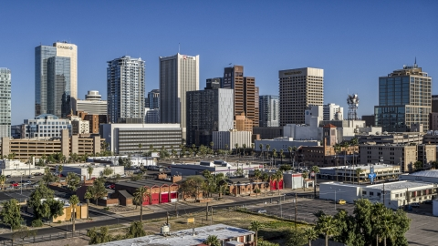 DXP002_138_0004 - Aerial stock photo of The city's high-rise office buildings in Downtown Phoenix, Arizona