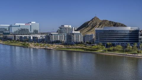 DXP002_142_0003 - Aerial stock photo of A waterfront condominium complex in Tempe, Arizona