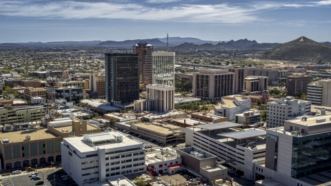 DXP002_144_0001 - Aerial stock photo of Office high-rises and Sentinel Peak, Downtown Tucson, Arizona