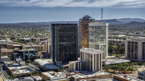 DXP002_144_0004 - Aerial stock photo of Three tall office high-rises in Downtown Tucson, Arizona