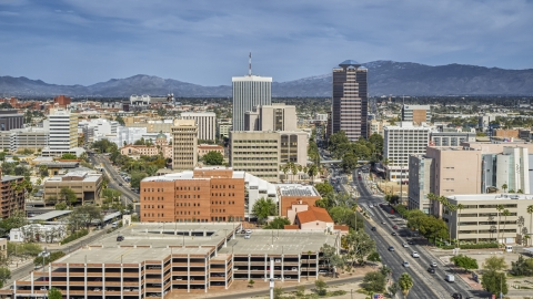 DXP002_144_0008 - Aerial stock photo of Tall high-rise office towers and city buildings in Downtown Tucson, Arizona