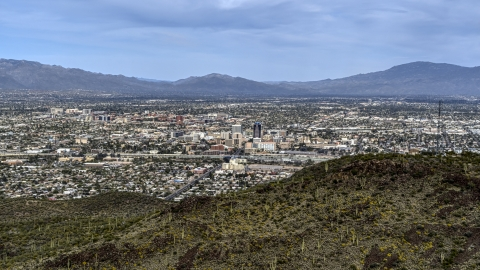 DXP002_145_0002 - Aerial stock photo of The city of Tucson seen from Sentinel Peak, Arizona