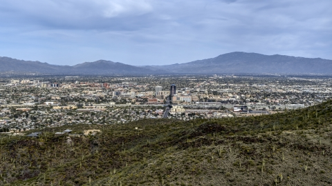 DXP002_145_0003 - Aerial stock photo of A view of the city of Tucson seen from Sentinel Peak, Arizona