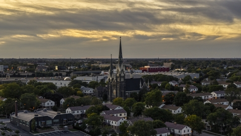DXP002_150_0006 - Aerial stock photo of Church steeples at twilight, Milwaukee, Wisconsin