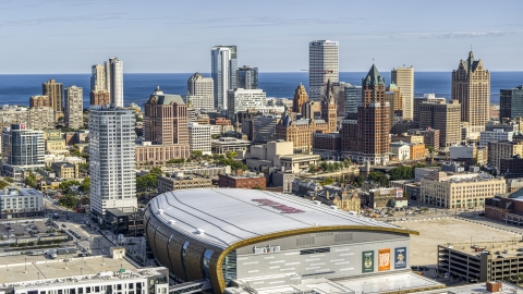 DXP002_152_0004 - Aerial stock photo of The city's skyline seen from the arena in Downtown Milwaukee, Wisconsin